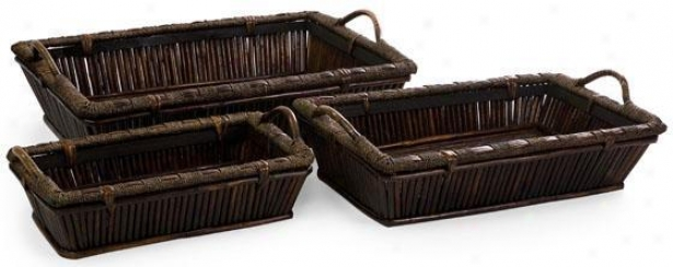Mccaslin Oversized Trays - Set Of 3 - Attitude Of 3, Brown
