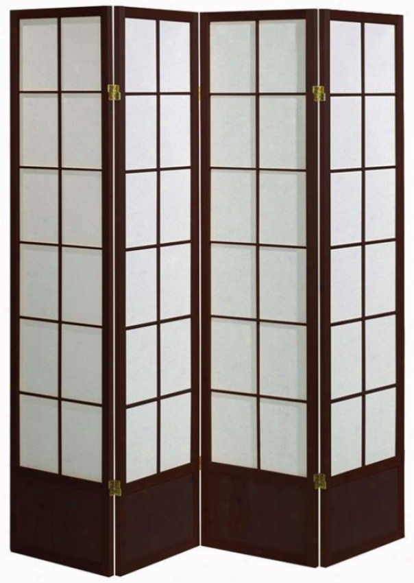 """meditation 71""""h Four-panel Shoji Room Divider - 4-panel, Brick Red"""
