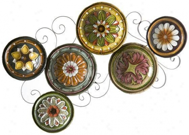 """mediterranean Plates Wall Sculpture - 22.5""""wx36.75""""h, Purple"""