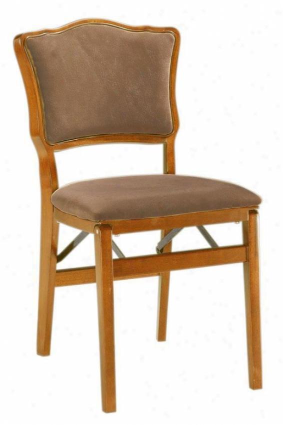 Medium Oak Chadwick Upholsteed-back Folding Chair - Set Of Two - Medium Oak, Ivory