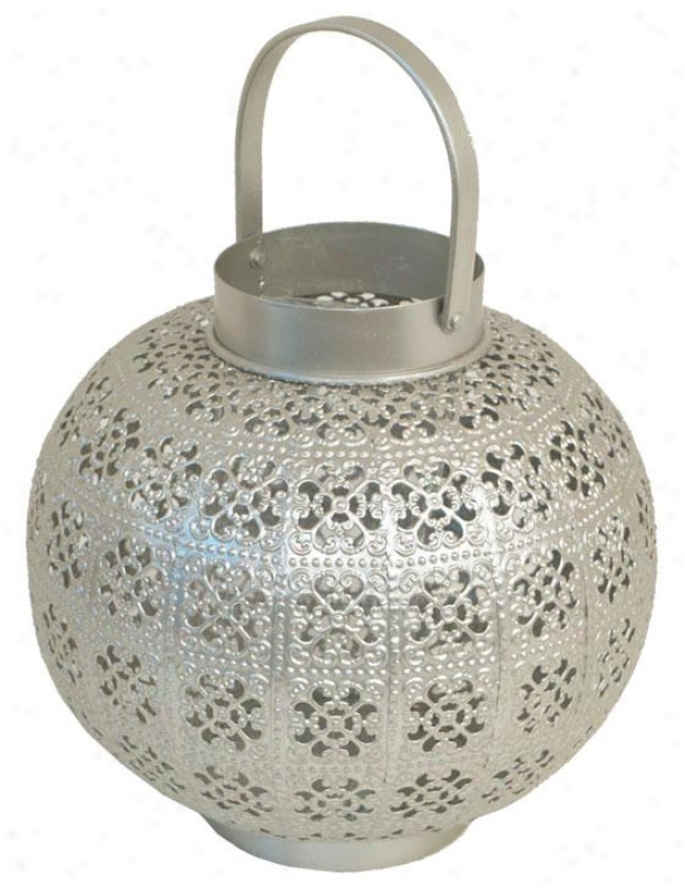 """meena Metal Candleholder - 12""""h X 8.5""""d, Soft and clear """