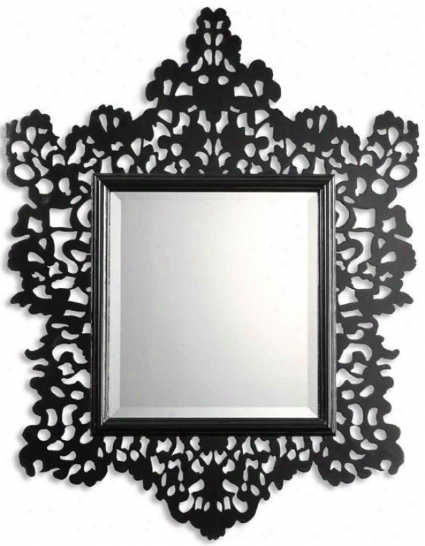 """melaney Wall Mirror - 43""""hx34""""w, Gloss Black"""