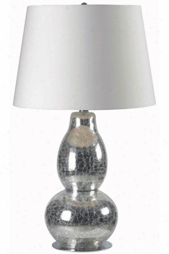 """mercu5io Table Lamp - 28""""hx15""""w, Chrm Crckld Gls"""