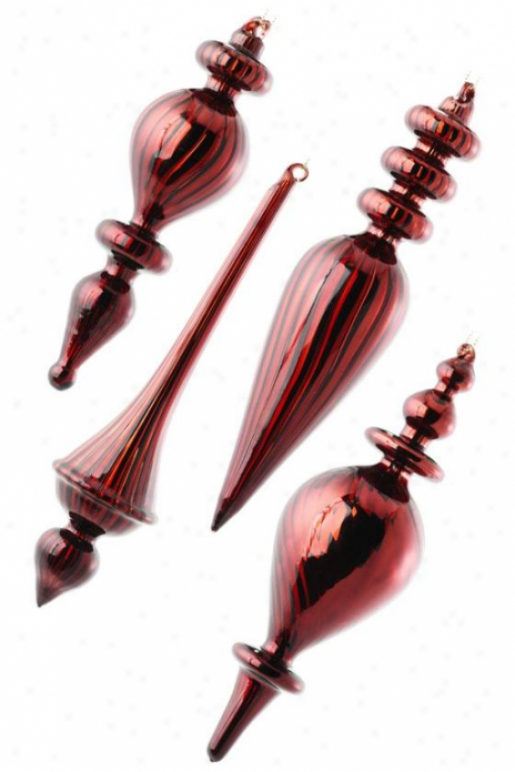 Mercury Finials - Set Of 4 - Swr Of Four, Burgundy
