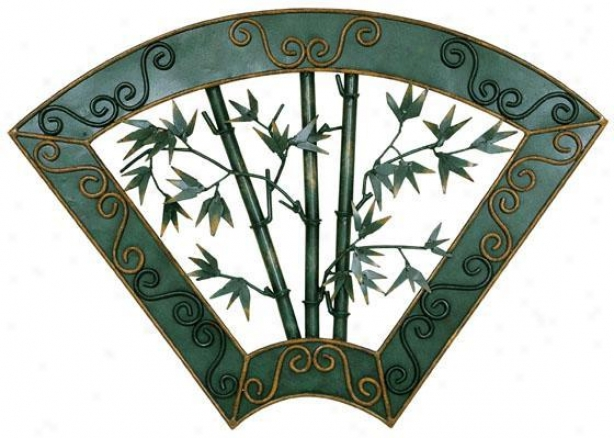 """metal Bamboo Wall Art - 21.5""""hx30.5""""w, Green"""