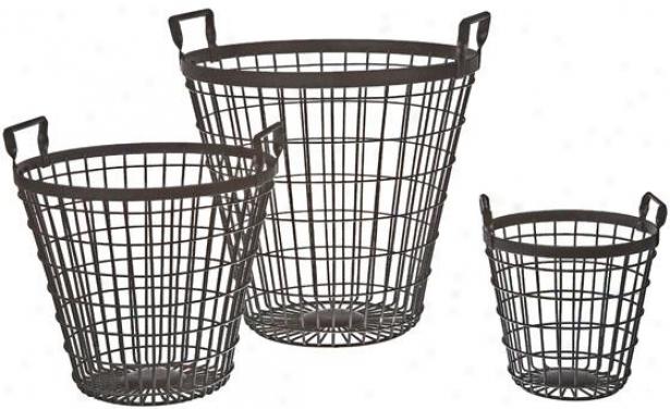 """metal Baskets - Set Of 3 - 13""""hx12""""wx13""""d, Black"""