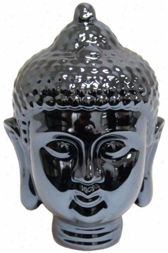 """metallic Buddha Statue - 9""""hx5""""d, Blue"""