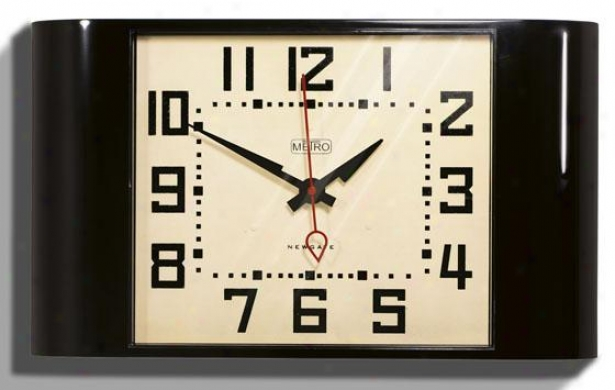 """metro Wall Clock - 10h X 17.5wx3""""d, Black"""