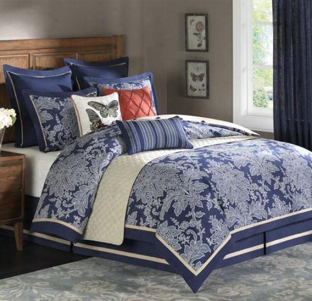 Middleton Ii Comforter Set - Queen 9pc Set, Navy Blue