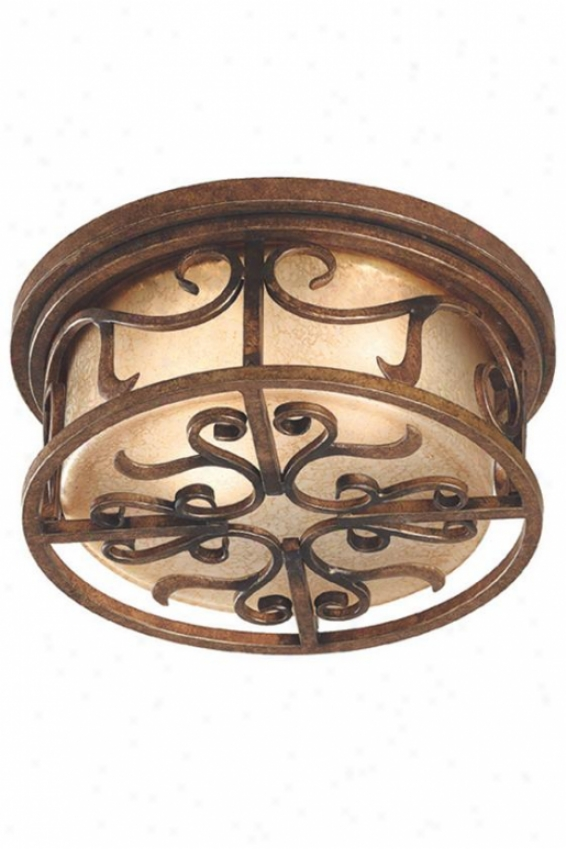 Milan Flush Mount - 2-light, Aed Gldn Cppr