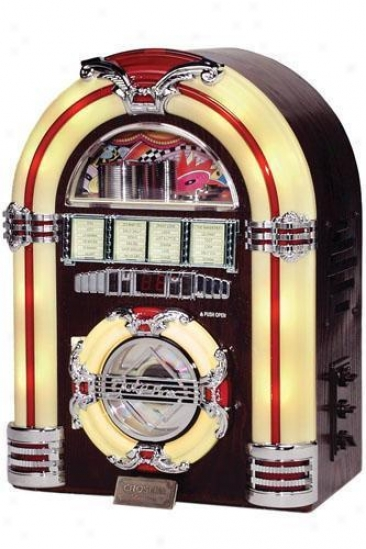 """mini Jukebox With Cd Player - 14.25""""hx10.25""""w, Wood Grain"""