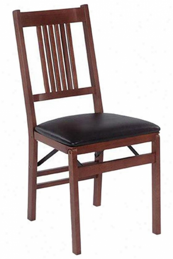 Missiion Folding Chairs - Set Of 2 - Black Vinyl, Brown