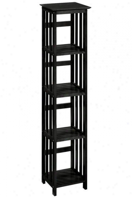 """mission-style 14""""w 4-shelf Bookshelf - Four-shelf, Black"""