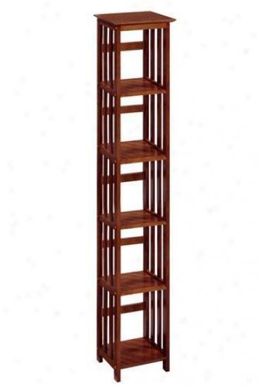 """mission-style 14""""w 5-shelf Bookshelf - Five-shelf, Brown Wood"""