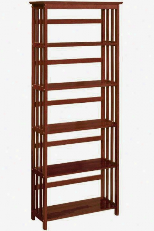 """mission-style 29""""w 5-shelf Bookshelf - Five-shelf, Brown Forest"""