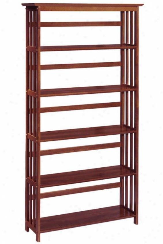 """mission-style 38""""w 5-shelf Bookshelf - Five-shelf, Brown Wood"""