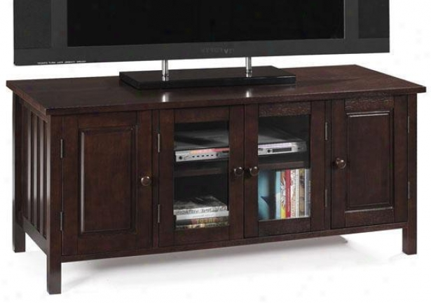 Mission Style 4-door Tv Stand - 2 Glass Doors, Brown