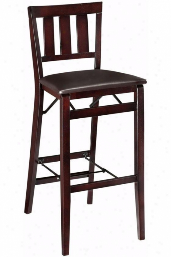 Mission-style Foldable Bar Stool - Bar Height, Brown