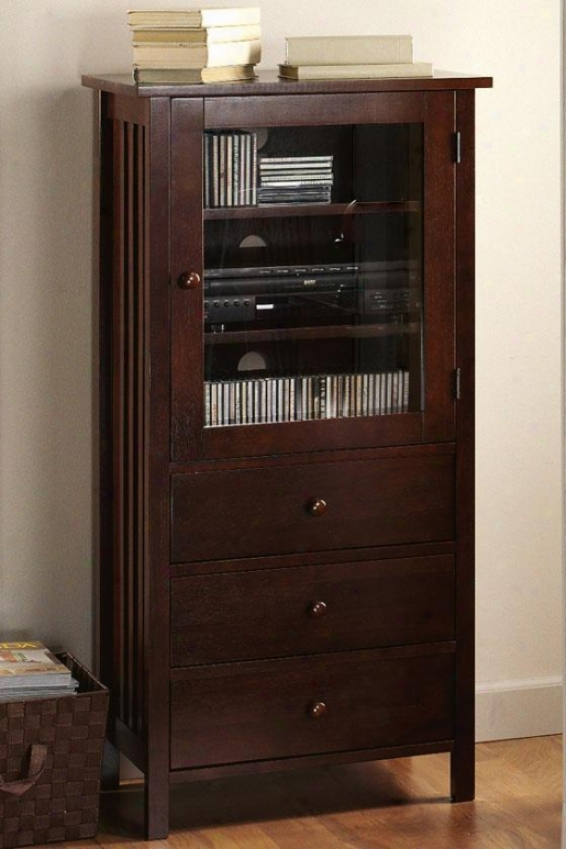 Mission-style Media Cabinet - 3-drawers, Brown