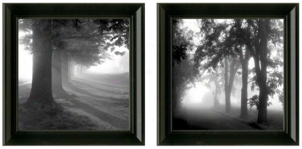 Misty Trees Pathway Framed Wall Art - Set Of 2 - Set Of Two, Black