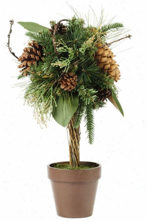 """mixed Greens And Pinecone 18"""" Topiary Ball - 18hx8wx8r, Greeen"""