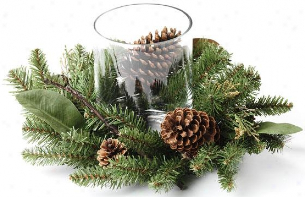 Mixed Greens And Pinecone Candleholder - 18x18x8, Green