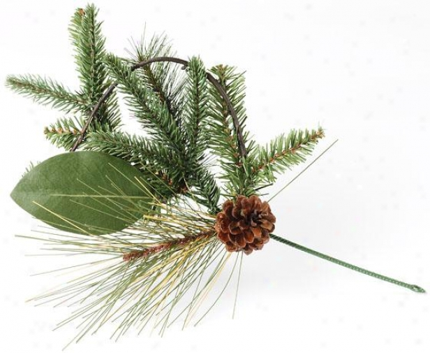 Mixed Greens And Pinecone Picks - Set Of 6 - 16.5hx9wx3.5d, Green