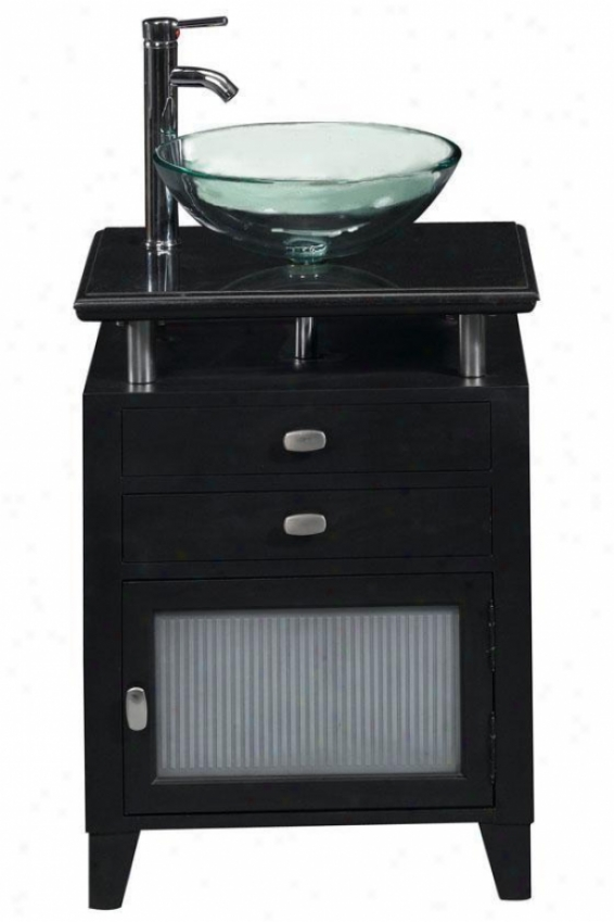 Moderna Bathroom Vanity - Black Granite Top - Glass Basin/g D, Black