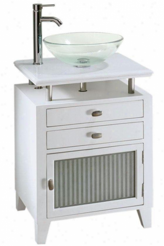 Moderna Bathroom Vanity - Pale Granite Crop - Glass Basin/g D, White