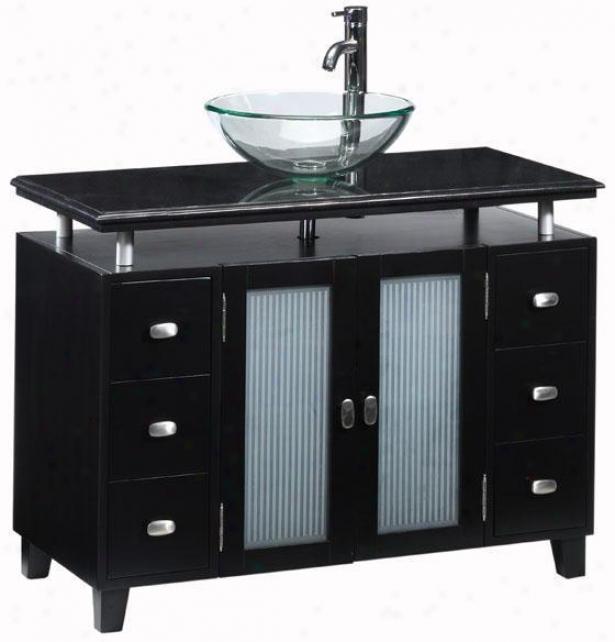 Moderna Deluxe Bathroom Vanity - Gls Bsn/gl sDrs, Black