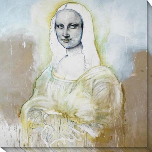 """mona Spirit Canvas Wall Art - 40""""hx40""""w, Whte"""