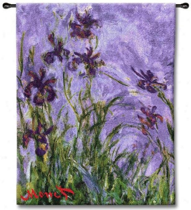 """""""monet Irises Tapestry - 44""""""""hx38""""""""w, Multi"""""""