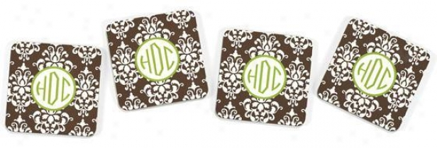 Monogram Coasters - Set Of 4 - 4piece, Brown