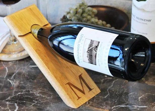 """monogram Counter Balance Wine Bottle Holder - 9 X 3.25 X .75"""", Z"""