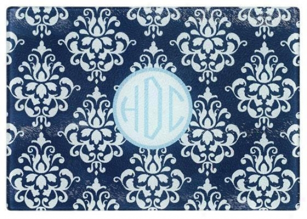 Monogram Cutting Board - Small, Navy Damask/sky
