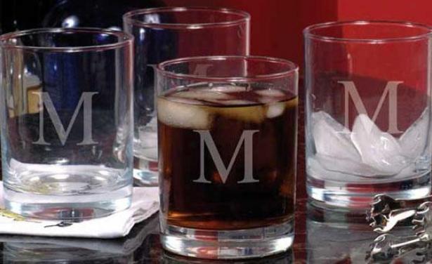 Monogram Doublr Old Fashioned Glasses - Set Of 4 - 14oz, O