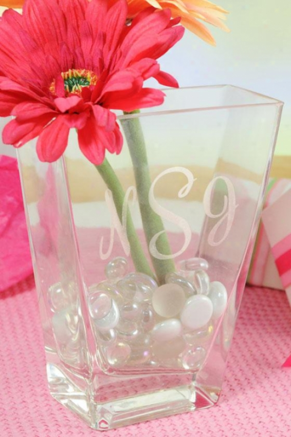"""monogram Friendship Vase - 6 X 4.75 X 2"""", Clear"""