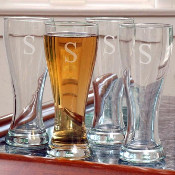 Monogram Pilsner Glasses - Set Of 4 - 20oz, D