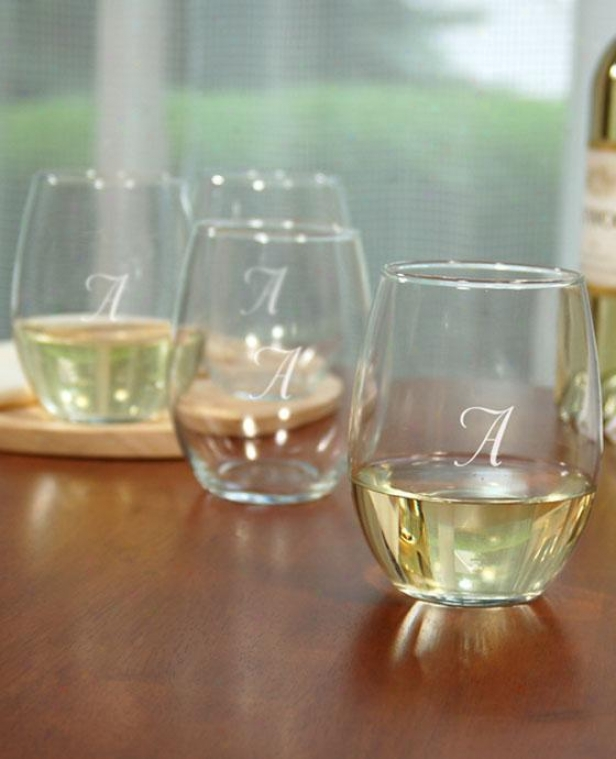 Monogram Stemless Wine Glasses - Set Of 4 - 21oz, G