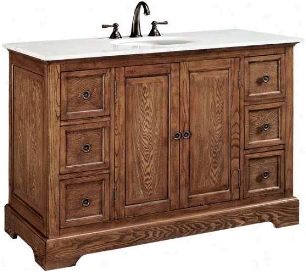 """montaigne Bathroom Vanity Attending Doors - 35""""hc49""""w, Brown Oak"""