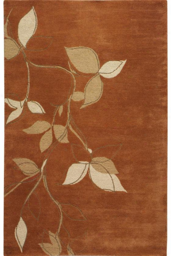 """montaigne Collection Leaves Area Rug - 5'3""""x8'3"""", Coral"""