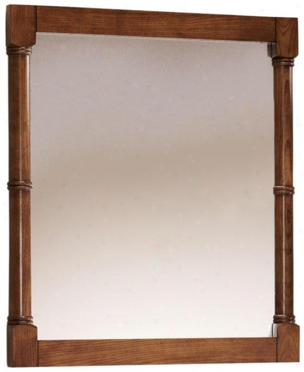 """montaigne Mirror - 32""""hx28""""w, Brown Oak"""