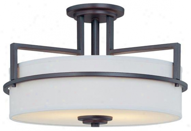 """montego Semi-flush Mount Light  -9""""h X 16.25""""w, Bronze"""