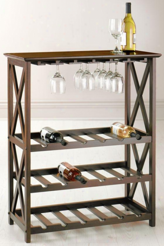 """montego Wine Rack - 36""""x28.5""""x14"""", Brown Wood"""