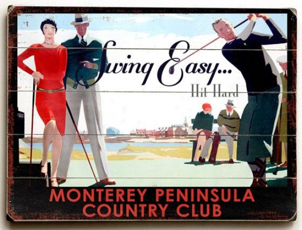 """monterey Country Club Wooden Sign - 14""""h X 20""""""w, Multi"""