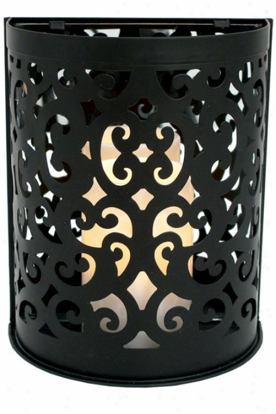 Montrose Scroll Sconce Flameless Candle - 8.5hx 7.25w X 4, Mourning