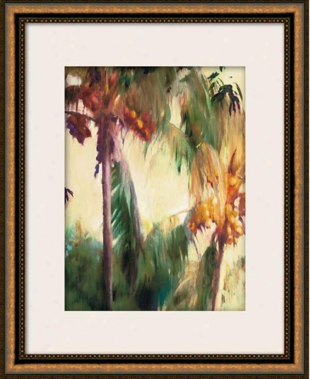 """morning Palms Framed Wall Art - 36""""hx29""""w, Matted Gold"""