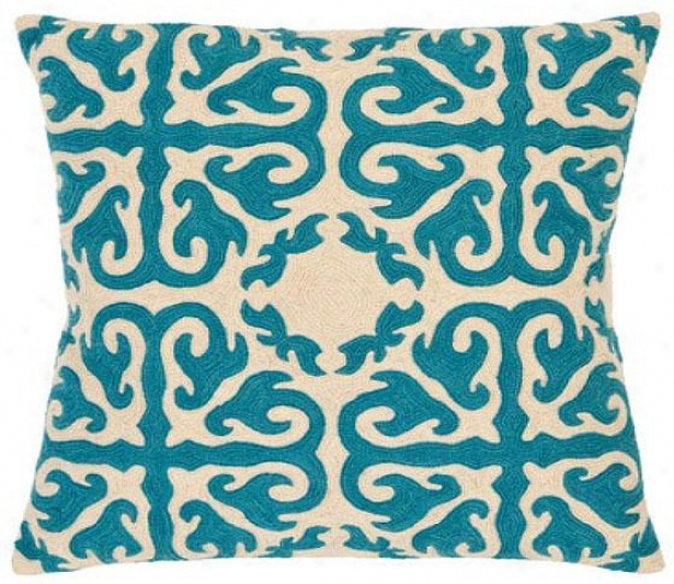 Moroccan Rain Pillow - 18hx18wx6d, Blue Rain