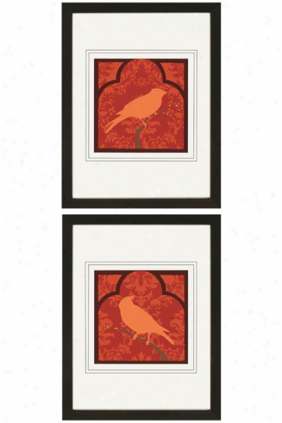 Moroccan Songbird Wall Art - Set Of 2 - Set Of 2, Red