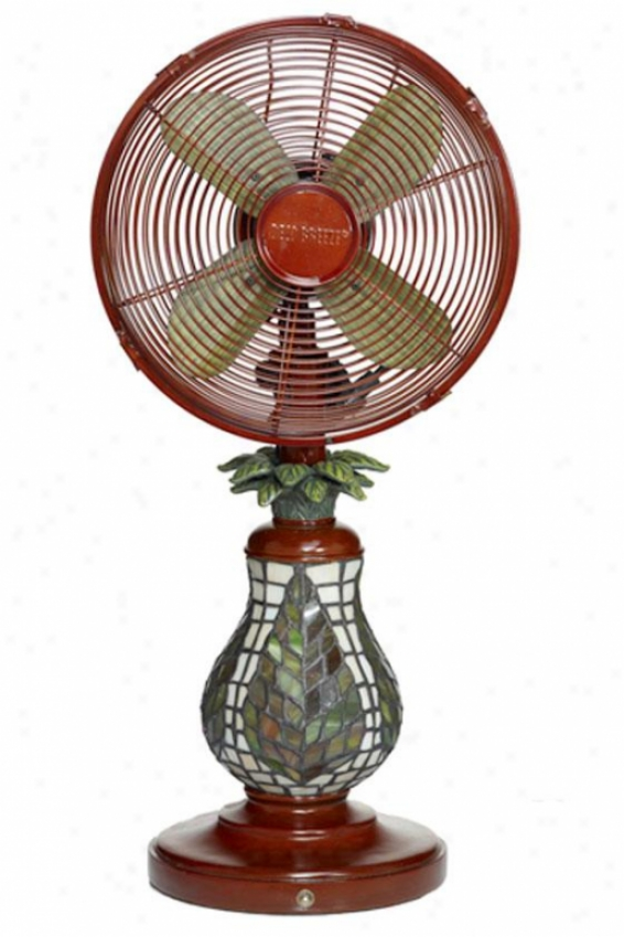 """mosaic Glass Table Top Fan - 255""""h X 10""""d, Ferns"""